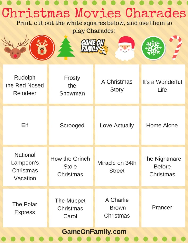 Check out this free Christmas Charades Movies Printable! Get more free Christmas Charades printable games and learn how to play Christmas Charades with our Christmas Charades game tutorial: www.GameOnFamily.com/christmas-charades. Game on!