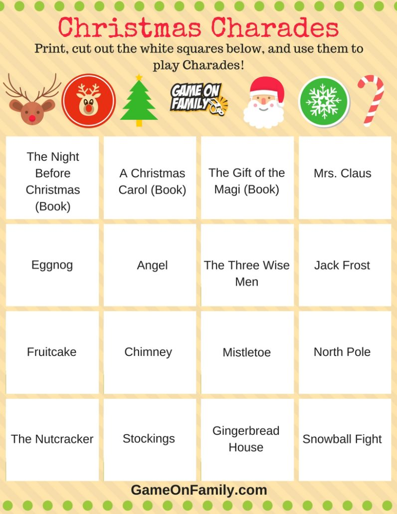 How to Play Christmas Charades: free printable games! | Game On Family