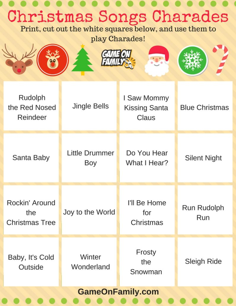 check out this free christmas charades songs printable get more free christmas charades printable games - Family Games To Play At Christmas